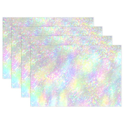 Iridescent Flush - Top Carpenter 4pcs Iridescent Holographic Placemat - 12x18in - Washable Heat Crease Resistant Printed Place Mat for Kitchen Dinner Table by