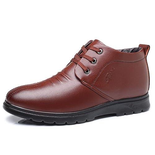 CHENJUAN Zapatos de Moda para Hombre Botines Casual Confort Cálido Faux Fleece Forrado Alto Top Zapatos de Ocio: Amazon.es: Zapatos y complementos