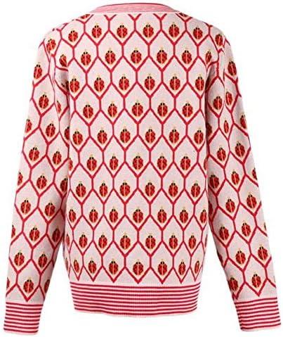 Good dress Automne Et Hiver Cardigan à Manches Longues avec Motif Insecte + Robe Longue sans Manches Femme, Rouge, s