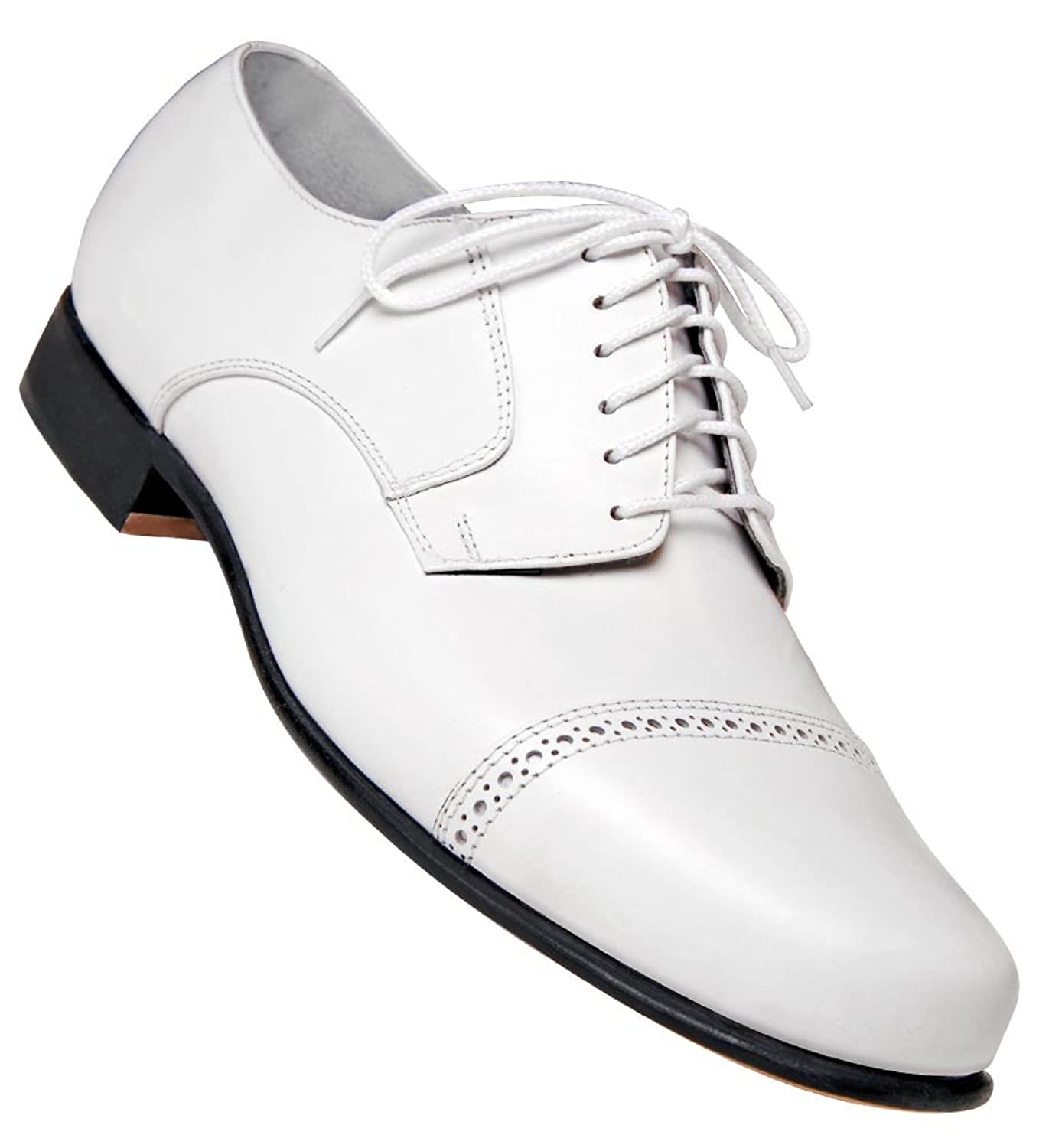 1920s Style Mens Shoes | Peaky Blinders Boots Mens 1930s White Captoe Dance Shoe $74.95 AT vintagedancer.com
