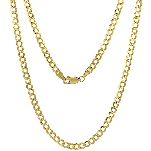 10K Yellow Gold Curb Link Chain Necklace Concaved Beveled Edges 3.9mm 26 inch