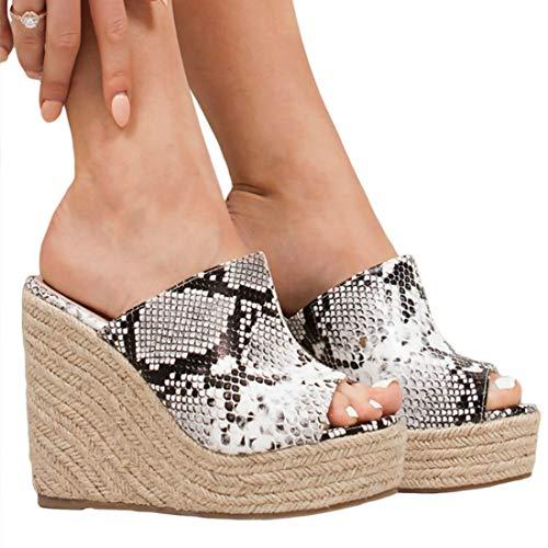 (LAICIGO Womens Platform Slip On Wedge Slide Sandals Mules Thong Slingback Summer Shoes)