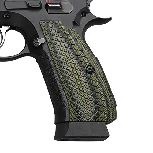 Cool Hand G10 Grips for CZ 75 Full Size, SP-01 Shadow, Snake Scale Texture, Brand OD/Black