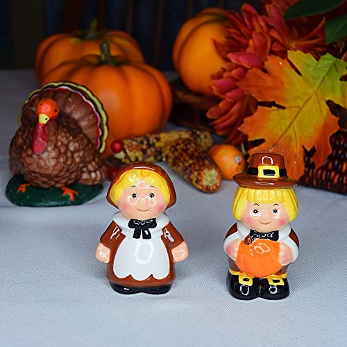 Thanksgiving Decor Pilgrim Couple Holiday Ceramic Set Barclay/'s Buys Thanksgiving Salt and Pepper Shakers