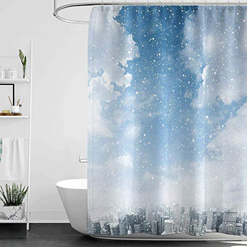 homecoco Shower Curtains for Bathroom map Winter,Snow Falling Down on The New York City Urban Life Skyscrapers Streets Cold Weather W36 x L72,Shower Curtain for Men