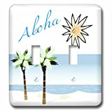 3dRose LLC lsp_59873_2 Aloha Hawaiian Beach Art Travel Ocean and Palm Trees Double Toggle Switch