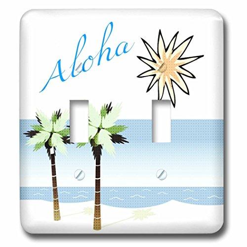 3dRose LLC lsp_59873_2 Aloha Hawaiian Beach Art Travel Ocean and Palm Trees Double Toggle Switch by 3dRose