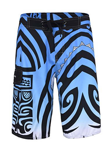 Unitop Men's Beachwear Summer Quick Dry Printed Blue ()