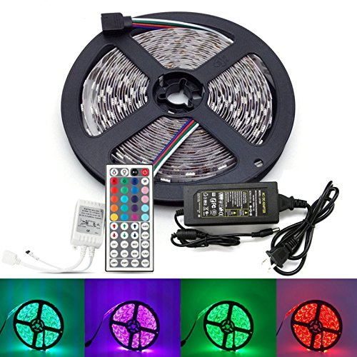 Udyr 16.4ft Waterproof Flexible RGB LED Light Strip SMD5050 300 LEDs Ribbon with 44-key IR Controller and 12V 5A Power Supply for Home Kitchen Car Outdoor Boats Kitchen Bedroom Bar Party Decoration (Chasing Clip Light)