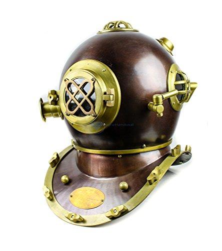 - Nagina International Scuba Diving Nautical Helmet | Maritime Ship's Decorative Helmet (18 Inches, Scutter Brown)