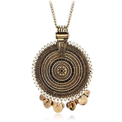 Ethnic Antique Gold Silver Big Round Multicircle Carving CZ Bohemian Pendant Long Sweater Necklace (Gold)
