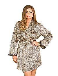 Plus Size Full Figure Long Sleeve Leopard Print Satin Robe