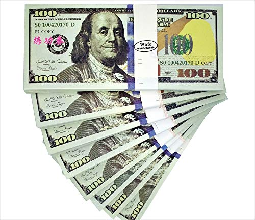WLIFE Fake Money that Looks Real,Movie Prop Money Full Print 2 Sided $100 Dollar Bills Stack,Play Money Copy Money $10000,New Published Thickening for Movies,TV,Videos,Advertising,Training
