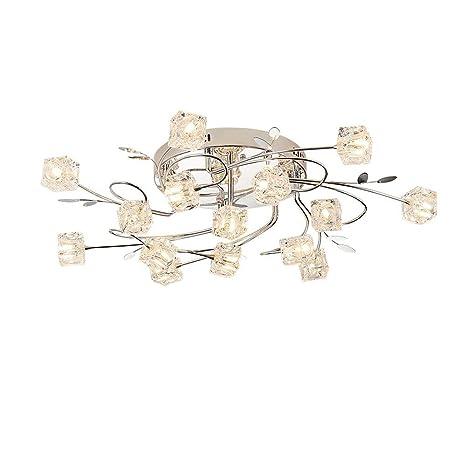 Moderno LED Lámpara de techo Cristal Pantalla de lámpara Cromo Lámparas de araña para Dormitorio Sala Cocina Comedor Cuarto de niños Iluminación Flor ...