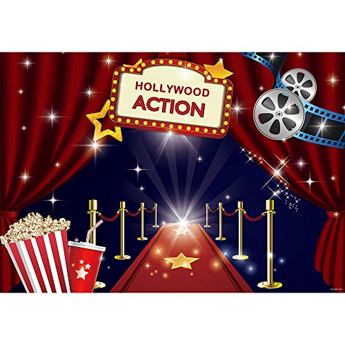 Allenjoy Hollywood Movie Theme Party Backdrop Red Carpet Celebrity Girls Sweet 16 Happy Birthday Decoation Banner 7x5ft Background Dress-up and Awards Night Ceremony Photo Booth Props