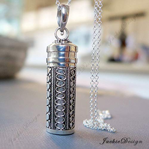 50mm Tall Bali Sterling Silver Long Tube Treasure Container Wish Locket Pendant 20