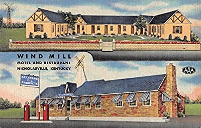 Nicholasville Kentucky Wind Mill Motel Restaurant Antique Postcard J29252