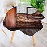 UHOO2018 Indoor/Outdoor Tablecloth-Picture Frame Put On A Damaged Brick Wall in Aged Old Room Rustic Available in Many Different Sizes and Colorways 55'' Round
