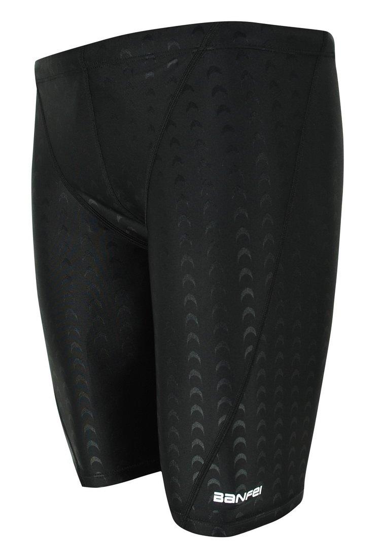 Vocni Men's Swim Trunk Quick Dry Rapid Swim Splice Square Solid Jammer Swim Suit,Black_03,US L - Asia Tag 3XL(Waist:35''-39'') by Vocni