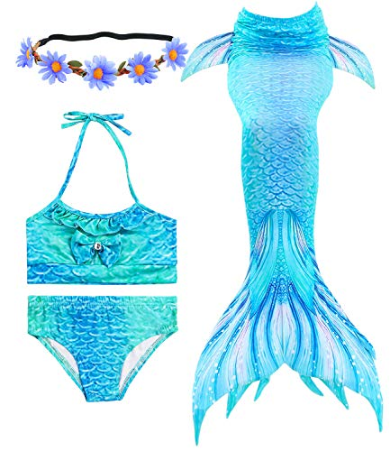 Newland 3 Pcs Girls Swimsuit Mermaid Tails for