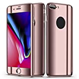Slim Full Body Hybrid Hard Case For iPhone 8 Plus,With 9H Tempered Glass (Pink)
