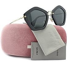 MIU MIU SMU06O Sunglasses Shiny Black w/Crystal Grey (1AB-1A1) SMU 06O 1AB-1A1 53mm Authentic