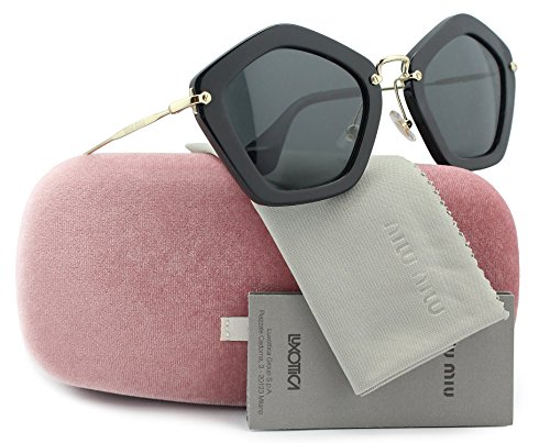 MIU MIU SMU06O Sunglasses Shiny Black w/Crystal Grey (1AB-1A1) SMU 06O 1AB-1A1 53mm - Brand Name Sunglasses