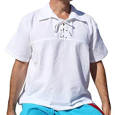 Svenine Big Poets Fold Down Collar Short Sleeve Renaissance Shirt at  Men's Clothing store