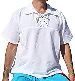Raan Pah Muang Big Poets Fold Down Collar Short Sleeve Renaissance Shirt, X-Large, White Review
