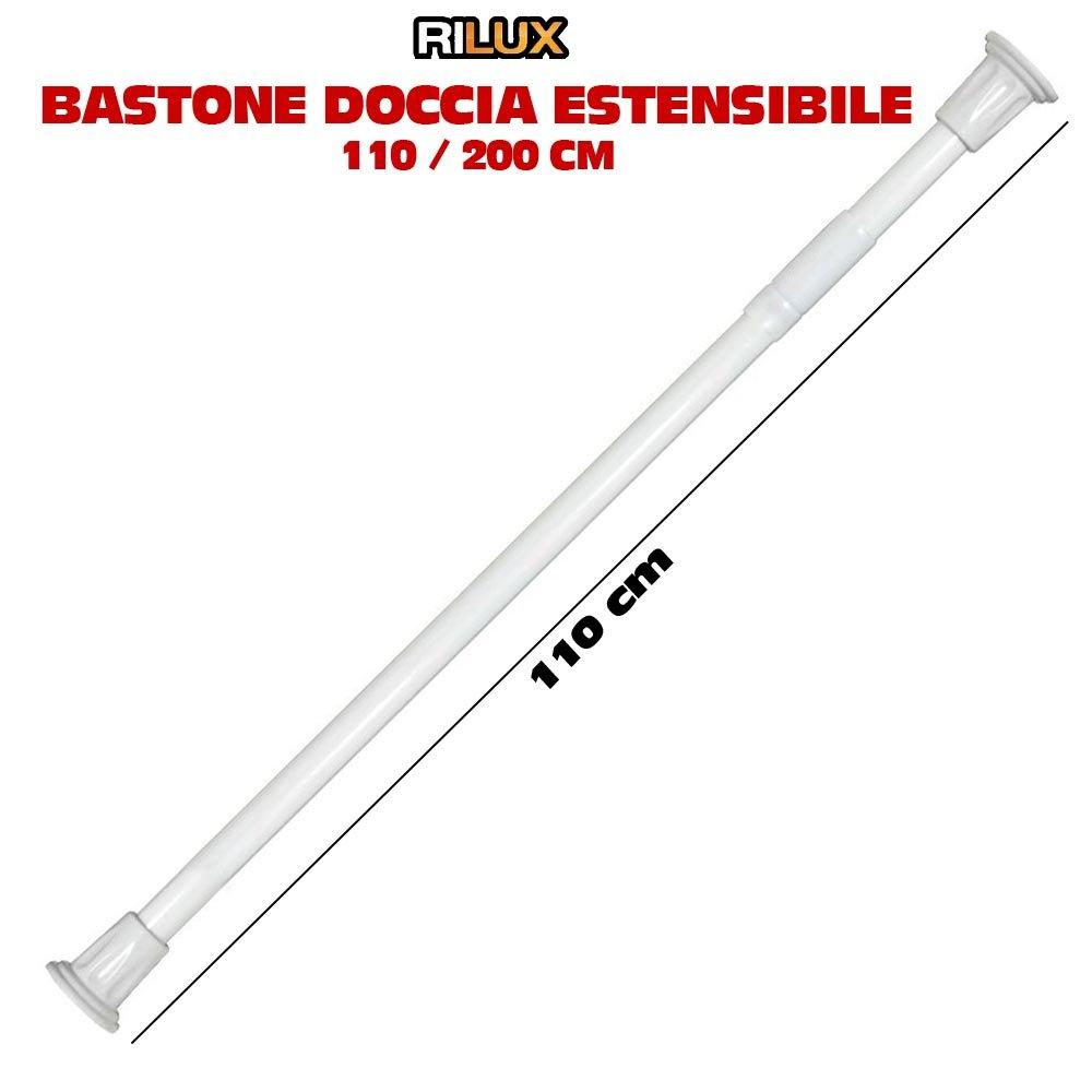 Rilux Bastone telescopico estensibile in alluminio per tenda doccia ,Ø 2,2 cm, 110-200 cm, colore: Bianco Rilux Bagno