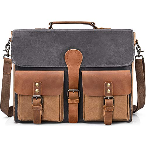 Mens Messenger Bag Vintage Genuine Leather Large Laptop Briefcase 15.6 Inch Waterproof Waxed Canvas Satchel Shoulder Bag Rugged Leather Computer Work Bags Grey