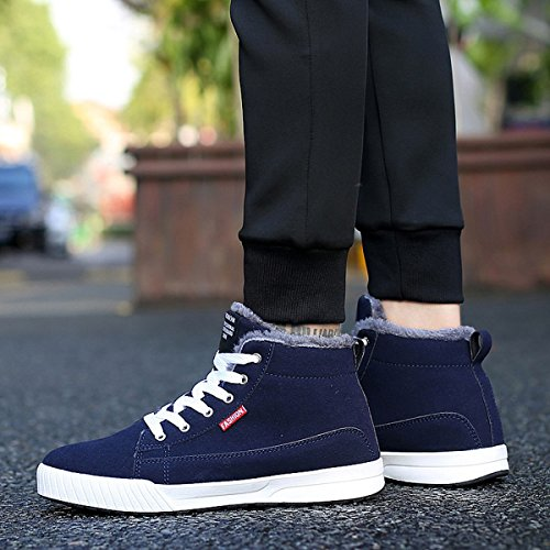 Women Top with Flat High Warm gracosy for Platform Sneaker Up Fur Shoes Lining Snow Blue Fashion Lace Ankle and Men Winter Boots FP6PUwqx