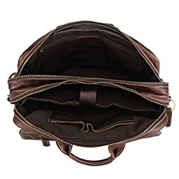 Polare Genuine Soft Leather Rustic Mens Briefcase Bag Fit 15.6\'\' Laptop