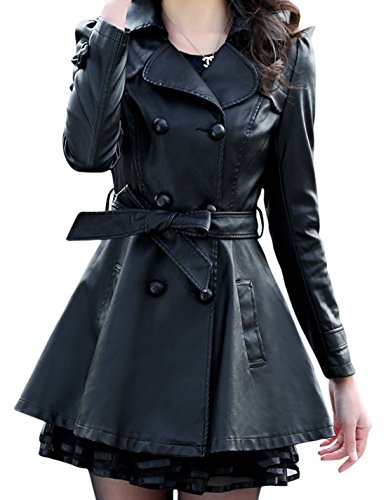 Women's Fashion Double-Breasted Lace Faux Leather Windbreaker Trench Coat (X-Small, Black)