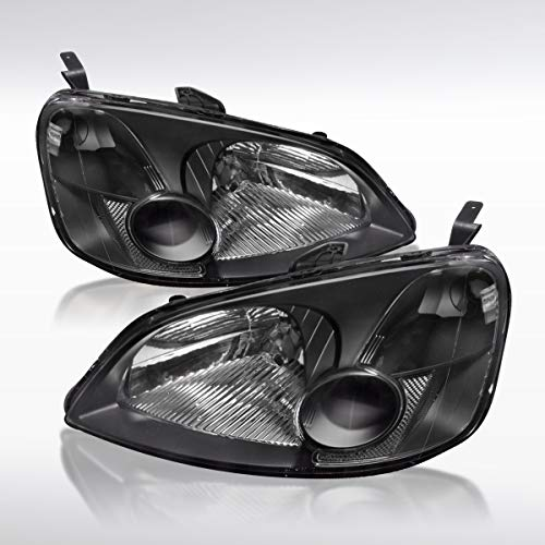 Crystal Jdm Black - Autozensation For Honda Civic 2Dr 4Dr JDM Black Crystal Headlights OEM Style