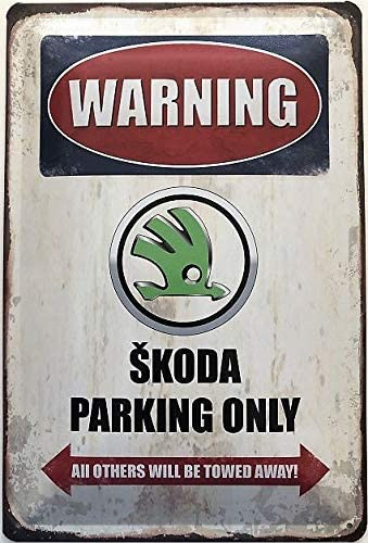 Deko7 Tin Sign 30 x 20 cm Warning Skoda Parking Only