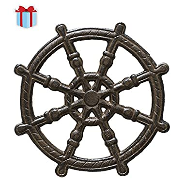 Cast Iron Helm Marine Trivet | Decorative Cast Iron Trivet For Kitchen Or Dining Table | Vintage Design | 7.5  | With Rubber Pegs/Feet by Comfify