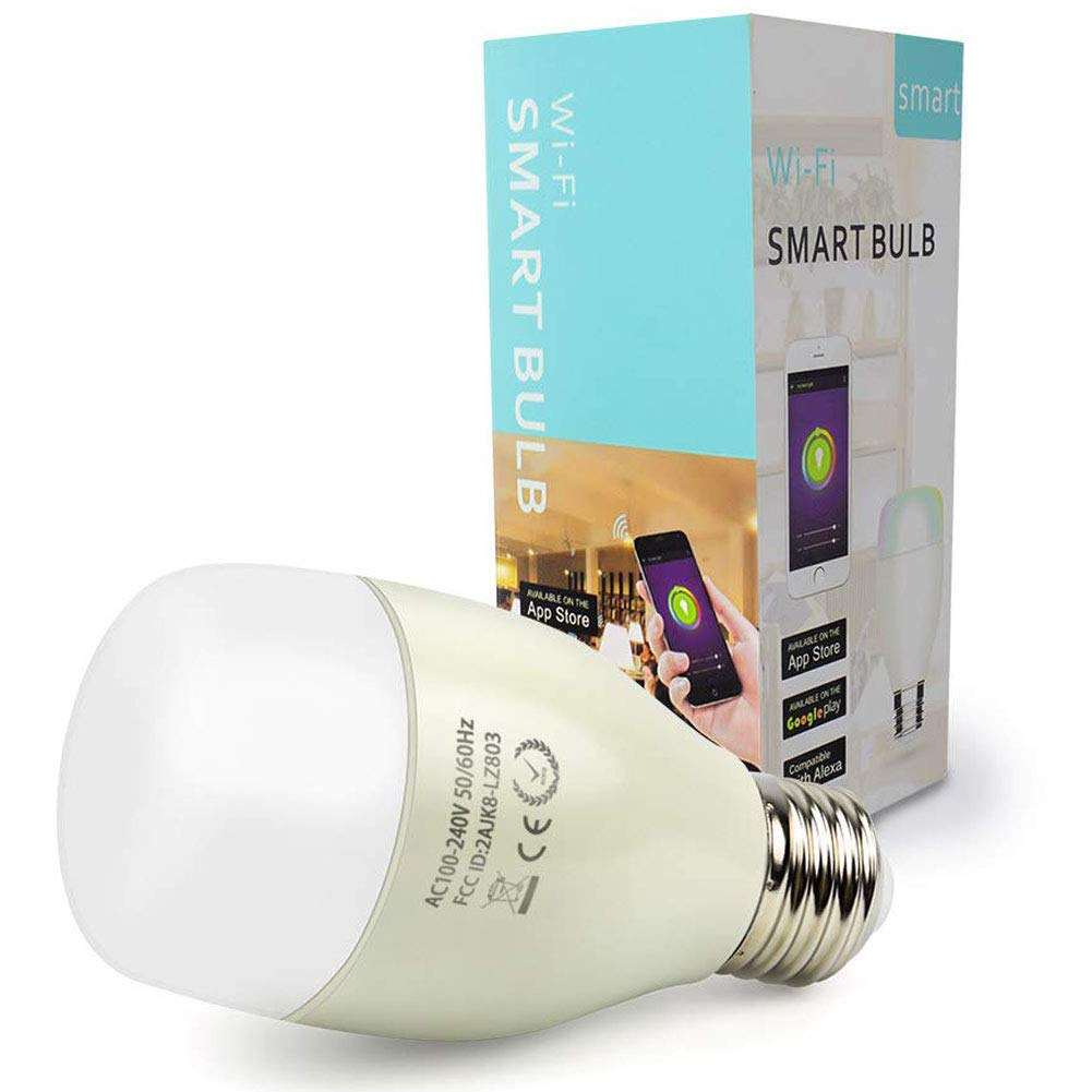 Smart Light Bulb A19 - Dimmable Wi-Fi LED Bulb 7W / Color Light - White Light- Warm Light/Compatible with Alexa and Google Assistant