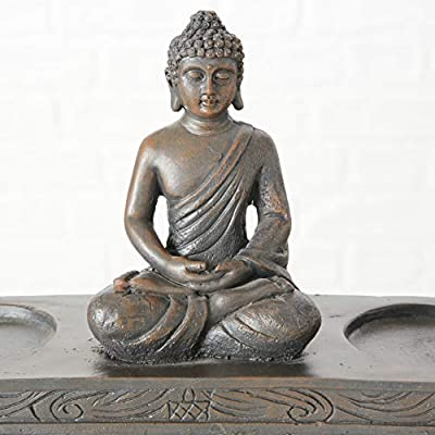 32 Centimeter Vintage Finish Rustic Brown Glass Polyresin The Seated Buddha With Double Glass Globe Tealight Holders