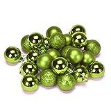 Christmas Tree Ornament, Boomboom 24Pcs 4 cm Plastic Christmas Tree Decoration Ball (Green)