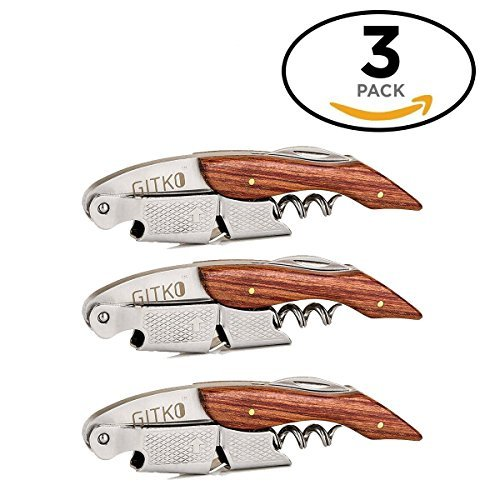 Waiters Corkscrew By Gitko -With a Comfortable Rosewood handle – Wine And Beer Bottle Opener For Bartenders, Waiters, –With A Stainless Steel Wine Key Foil Cutter - With a Nice Pouch Included, 3 Pack by GITKO (Image #8)