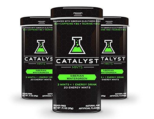 Catalyst Sugar Free Wintergreen Energy Mints with 30mg Caffeine, Taurine, Energizing Vitamin B3 / B6 / B12 Complex, Siberian Eleuthero Adaptogen. 3 Pack = 60 Powerful Mints = 20 Energy Drinks