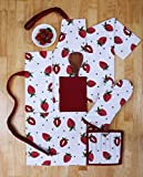 Set of Apron, Oven Mitt, Pot Holder, Pair of Kitchen Towels in a Unique Berry Blast Design, Made of 100% Cotton, Eco-Friendly & Safe, Value Pack and Ideal Gift Set, Kitchen Linen Set By CASA DECORS