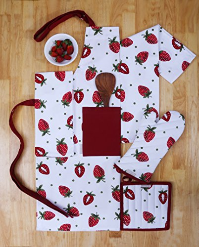 Towel Pot Holder Mitt (Set of Apron, Oven Mitt, Pot Holder, Pair of Kitchen Towels in a Unique Berry Blast Design, Made of 100% Cotton, Eco-Friendly & Safe, Value Pack and Ideal Gift Set, Kitchen Linen Set By CASA DECORS)