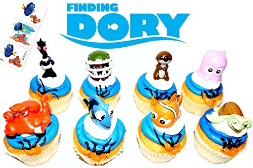 Finding Nemo Wash (Finding Dory Disney Movie Deluxe Cupcake Topper Figure Set of 8 with 6 Temporary Tattoos)