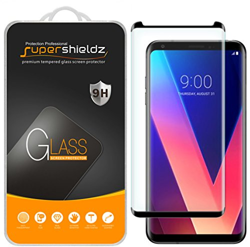 [2-Pack] Supershieldz for LG V35 ThinQ Tempered Glass Screen Protector, [Full Screen Coverage][3D Curved Glass] Anti-Scratch, Bubble Free, Lifetime Replacement Warranty (Black)
