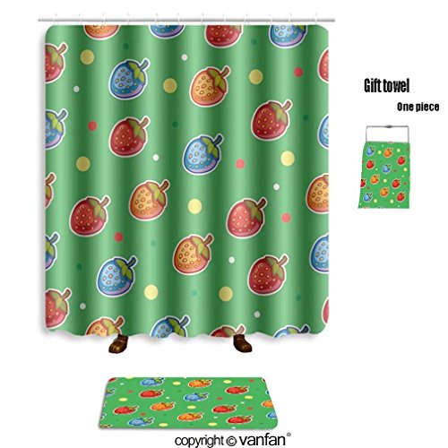 vanfan bath sets with Polyester rugs and shower curtain seamless fruit vector pattern with bright mul shower curtains sets bathroom 36 x 78 inches&23.6 x 15.7 inches(Free 1 towel and 12 hooks)