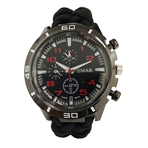 Freekid Multi-Multi-function Fishing Climbing Sports Outdoor Watch Swiss Sensor ,Outdoor Watch for Mens, Hiking,Include Paracord,Fire Starter,Scraper,Whistle,Compass and Thermometer by Shenzhenshi feng Rui Industrial Co., Ltd