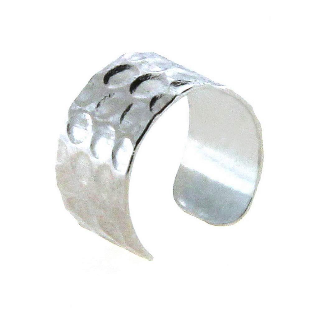 BeachBu Designer Jewelry The Original Topanga Ear Cuff Earring in Hammered Silver Plated Small 1//4 inches