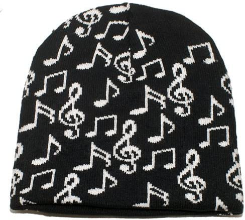 Black and White Beanie with Music Notes Design